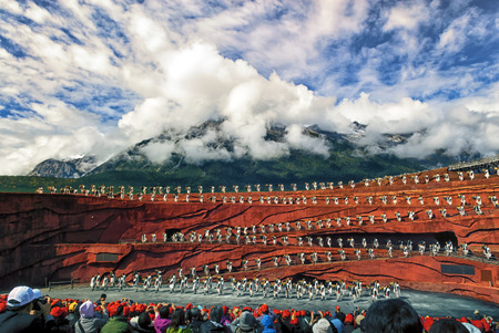 LIJIANG CHINA - October 19 Actors participate in  Impression Lijiang live performance on October 19 2010 at The Jade dragon snow mountain in Lijiang  China. 写真素材
