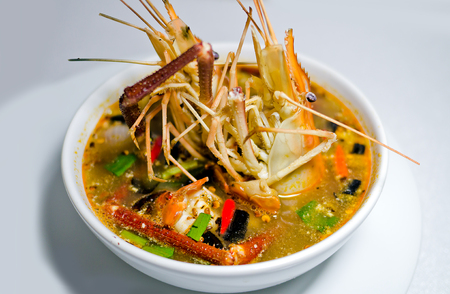 Tom Yam Koong soup with noodles Stock Photo