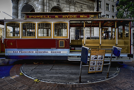 San Francisco: a driver turns a cable car on January 1, 2017. The Powell-Hyde line runs from a terminal at Powell and Market Streets. The city has the the worlds last manually operated cable car system Editorial