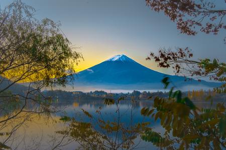 mirror image: Mt Fuji in on the lake kawaguchiko