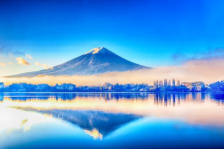 winter sunrise: Mt Fuji in on the lake kawaguchiko