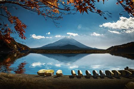 Japan landscape with Mount Fuji - Lake Shoji (Shojiko) and the famous volcano. Part of Fuji Five Lakes in Fuji-Hakone-Izu National Park Reklamní fotografie