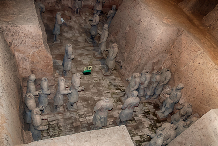 XI'AN, SHAANXI PROVINCE, CHINA - OCTOBER 23, 2007: The Terracotta Warriors of the famous Terracotta Army inside the Qin Shi Huang Mausoleum of the First Emperor of China.