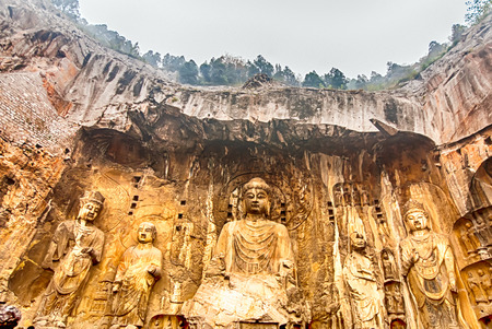 LUOYANG, CHINA - OCTOBER 28: Visitors at Longmen grottoes on October 28, 2007.It is one of the four notable grottoes in Luoyang,Henan,China .