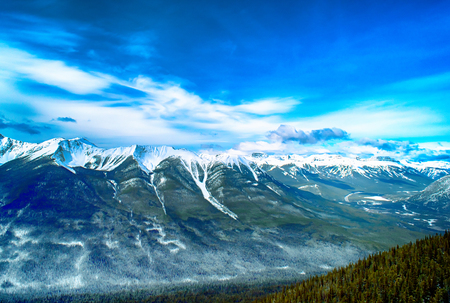 Sulphur Mountain in Banff National Park in the Canadian Rocky Mountains overlooking the town of Banff.