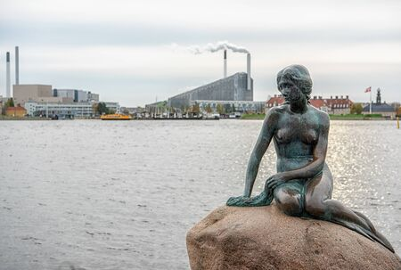 Copenhagen, Denmark – 19 OCT 2019: Famous Little Mermaid Statue in Copenhagen Denmark