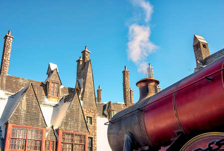 UNIVERSAL CITY, CA, USA December 26: the Hogwarts Express Train at Wizardly World of Harry Potter at Islands of Adventure, Universal Studios in Hollywood, CA, USA December