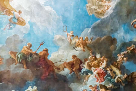 VERSAILLES PARIS, FRANCE - April 18 : Ceiling painting in Hercules room of the Royal Chateau Versailles on April 18, 2015 at the Palace of Versailles near Paris, France Editorial