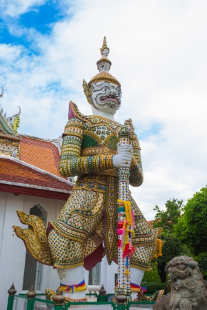 White  giant statue  of the temple thailand photo