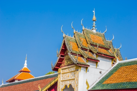 lamphun: The roof gable of temple in Lamphun Province, Thailand Stock Photo