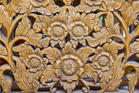 Wood Carving of Flowers,Thailand photo