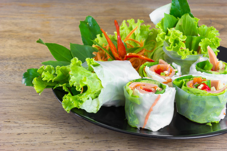 'vietnamese: Fresh Spring rolls food with vegetable Stock Photo