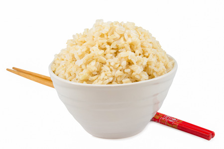 rice grain: cooked  brown rice in a bowl
