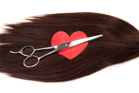hair clippers: hair, heart shape and clippers on white background