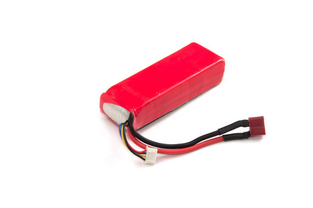 lithium: Lithium Polymer Battery pack on white background Stock Photo