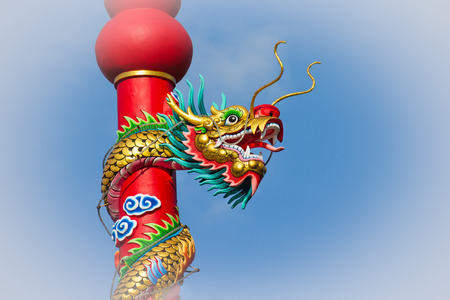 colorful dragon on pole in Chinese temple,Thailand photo