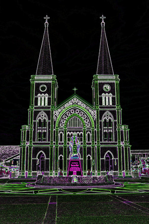belfry: catholic church with neon lights Stock Photo