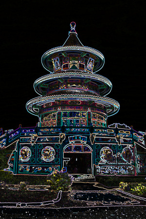 chinese temple: colorful chinese temple with neon lights,Kanchanaburi, Thailand Stock Photo
