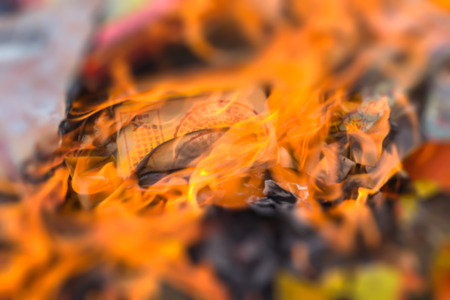 Burning of money paper and gold paper for Chinese Ghost