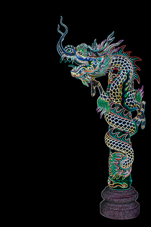 neon lights: dragon statue with neon lights