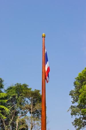 flagstaff: flagstaff wooden of Thailand under blue sky