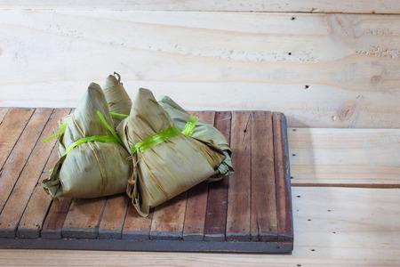 chang: zongzi or Bak Chang on wood background
