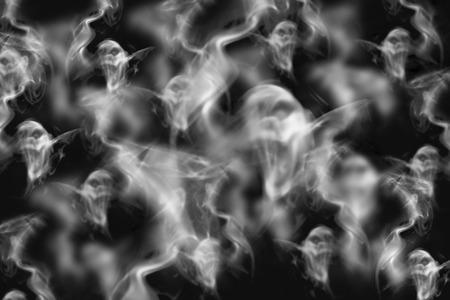 煙の形をした幽霊、黒背景