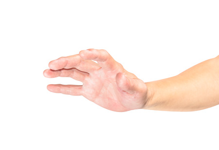 outstretched hand: outstretched hand  Isolated on white background Stock Photo