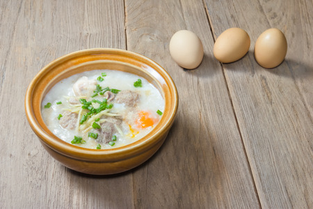 offal: rice porridge with pork and offal,congee