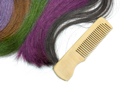 comb hair: multicolored hair with wooden comb