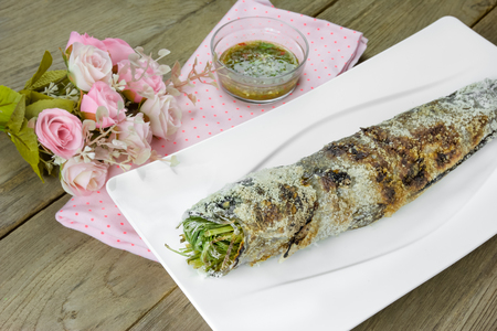striped snakehead fish: grill striped snakehead fish with salt coated