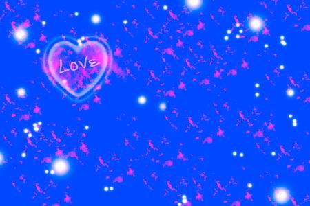 stylish couple: pink heart on blue background