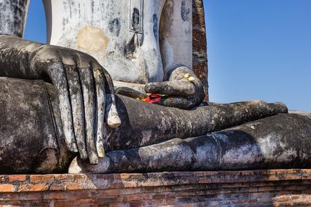 sukhothai: Buddha hand in a temple,Sukhothai,Thailand