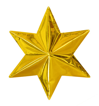 star path: Golden Christmas Star isolated on white Background,clipping path Stock Photo