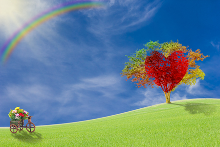 abstract love: Red heart with big tree on meadow