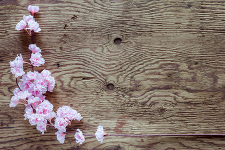blank space: pink flowers bunch on wooden background