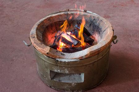 firebox: coal stove with flame