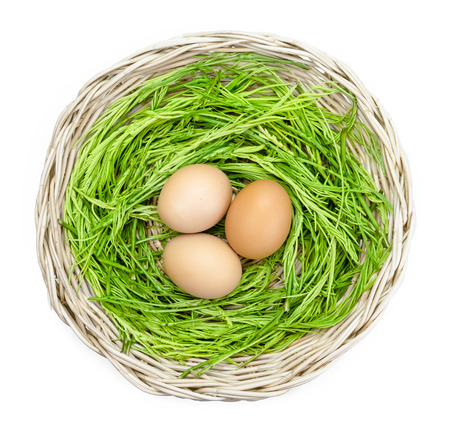 cha om: Acacia pennata and egg in basket on background Stock Photo