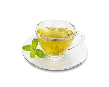 Chrysanthemum tea in a glass isolated on white background