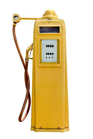 gasoline pump: retro yellow petrol gasoline pump isolated in white background