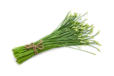 odorum: garlic chive in threshing basket isolated on white.