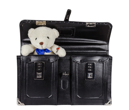 schoolbag: Black retro leather schoolbag with teddy bear isolated on white background,clipping path Stock Photo