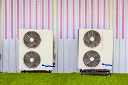 compressor: compressor unit of air conditioner Stock Photo