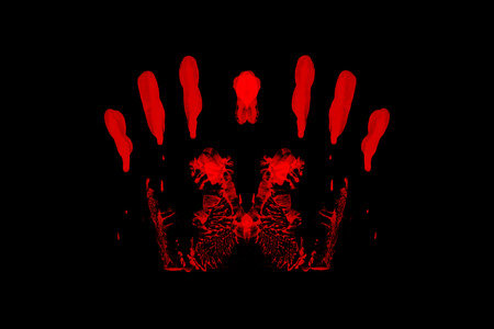 bloody hand print: red handprint isolated on black background