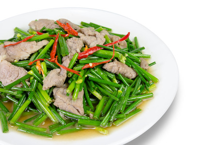 stir-fried pork and garlic chive isolated on white background,clipping path