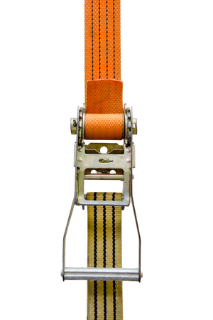 lashing: ratchet strap isolated on white background,clipping path