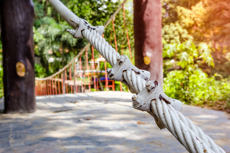 locked: locked cable pole with rope bridge Stock Photo