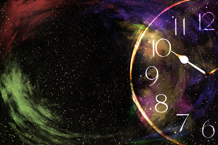 nebula in galaxy with clock,abstract background. Stock Photo