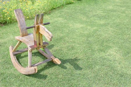 dollhouse: wooden rocking horse chair children on lawn