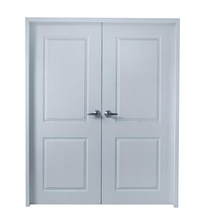 porta di legno isolato su sfondo bianco, percorso di clipping Archivio Fotografico